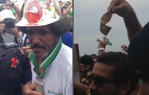 Militante é hostilizado por manifestantes no Rio.