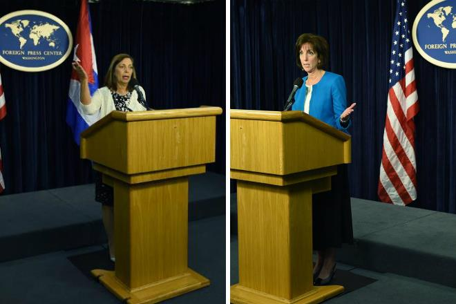Josefina Vidal (à esquerda) e Roberta Jacobson (à direita) falam sobre nova rodada de diálogos